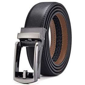 ベルト メンズ 牛革 高級 自動ロック式 バックル レザーベルト ビジネス カジュアルファッション 紳士 プレゼント 120cm 130cm (黒, 130cm)
