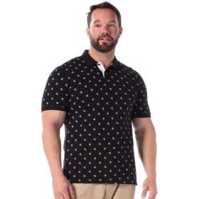 サカゼン Calvin Klein Jeans 大きいサイズ メンズ 綿100% 総ロゴプリント 半袖 ポロシャツ ブラック / 1XL [並行輸入品]