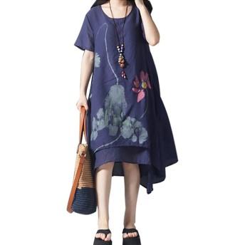 ワンピース レディース 夏 綿麻 大きいサイズ チュニック マキシワンピ ロング丈 ひざ丈 花柄 半袖(紺色, XL)