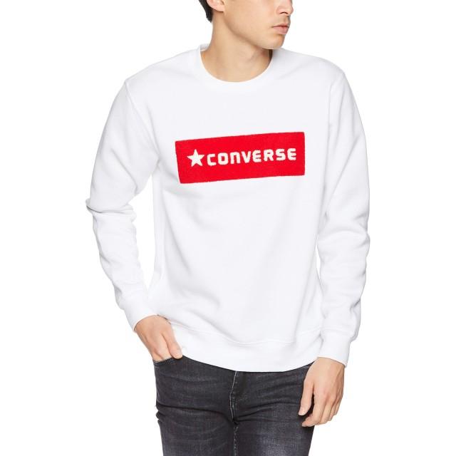[ウィゴー] WEGO コンバース CONVERSE サガラ ボックス 刺繍 起毛 プル オーバー スウェット L ホワイト メンズ