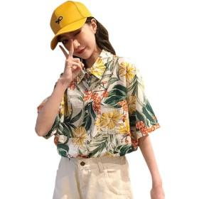 (リスキス) riskiss レディース アロハシャツ 花柄 ハワイシャツ ブラウス ゆったり ビーチ 海 夏 五分袖 プリント 薄手フリーサイズ (ホワイト, フリー)