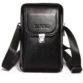 ウエストベルトバッグ 本革 メンズ 携帯ベルトポーチ 軽量 ショルダー付き ミニバッグ タバコケース 携帯収納 2室 コンパクト ブラック
