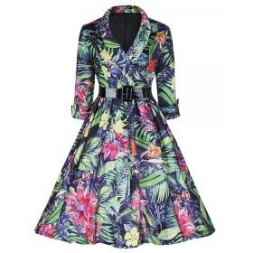 MISSVIN 女性の3 / 4のベルトビンテージパーティースイングドレスとスリーブヘボン式印刷[並行輸入品] (L, A)
