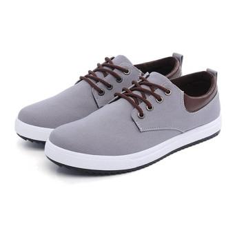 [クーティー] スニーカー メンズ デッキシューズ 紐 ファッションスニーカー 靴ローカット カジュアル 男性 スエード (25.0cm, グレー)
