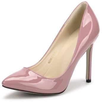 [リュアーヤ] 11センチメートルヒールレディースエナメル美脚パーティークラブ変装おおきいサイズポインテッドトゥパンプスハイヒールピンヒール靴ハイヒールピンク40