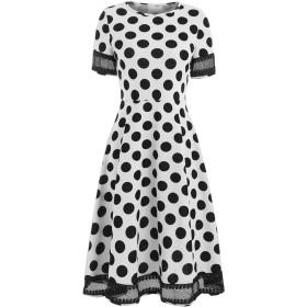 レディース ワンピース ドレス 半袖 格子縞 1950 年代 レトロ 結婚式 女性のパーティードレス ワンピース・チュニック (M, 白)