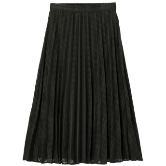 (GU)プリーツミディスカート(チェック)Z BLACK S