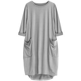 レディース ドレス ワンピース チュニック セクシー 女性 ポケット ゆとり ゆったりしている ドレス 下着ルック 女性向け クルーネック アメカジファッション 長い トップス ドレス プラス サイズ