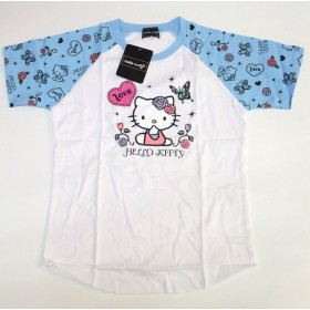 【HELLO KITTY】 サンリオ ハローキティTシャツ ブルー×ホワイト M/L (M)