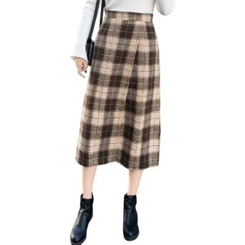 (ロンショップ)R.O.N shop ラップデザイン チェック 柄 スカート 大人 かわいい ロング 膝下 ひざ下 ミモレ丈 (ブラウン,XL)