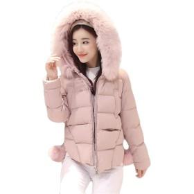 (ジャンーウェ)ショート丈 ダウンコート レディース ファーフード付き ふわふわ ゆったり 暖かい おしゃれ ピンクL