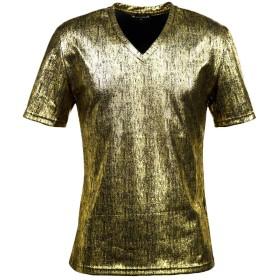 (ブラックバリア) BLACK VARIA Tシャツ メタリック ムラ柄 箔 無地 半袖 Vネック Tシャツ ゴールドブラック 154304 M