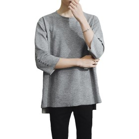 DeBangNi メンズ Tシャツ 七分袖 ファッション 上着 カジュアル ゆったり 大きい サイズ 原宿風 カップルグレーN6