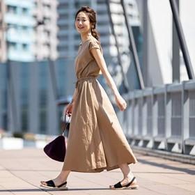 コーエン(レディース)(coen) 【WEB限定】綿麻フレンチスリーブマキシワンピース【BEIGE/FREE】