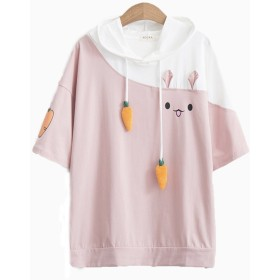 Maruya レディース Tシャツ トップス 夏 半袖 カットソー 森ガール かわいい ゆったり 学生 カジュアル 通学 フード付き ピンク L