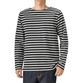 ボーダーTシャツ メンズ ロンT 長袖 ロングTシャツ コットン ボートネックTシャツ MH/03474SS-1 ブラック:XL