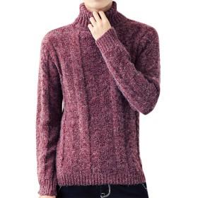 (オリログ) ALLYLOG タートルネック ケーブル編み メンズ ニット セーター 秋 冬 (2XL-日本XL, ワイン)