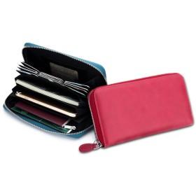 imeetu 長財布 カードケース カード入れ 24枚収納 クレジットカード/ポイントカード/パスポート 革 じゃばら スキミング&磁気防止 大容量 メンズ/レディース (約)縦20×横11×厚さ3cm 210g(レッド)