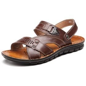 [ジョイジョイ] サンダル スポーツサンダル 夏サンダル メンズ レザーサンダル ビーチサンダル 通気 男性 スリッパ 軽量 かかとつき おしゃれ 2way 防水 ストラップ アウトドア オフィス 履きやすい 厚底靴 ブラック/ブラウン