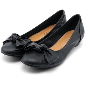 [フェリシア フェリーチェ] 大きめリボンのバレエシューズ 23.5cm ブラック(スムース) 黒