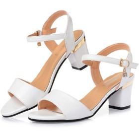 パンプス アンクル サンダル スシューズ ストラップサンダル 靴 ウェッジヒール ウェッジヒール シューズ スエード ファション 厚底 カジュアル 夏 シミア 韓風 レディース 女性用 (Color : White, Size : 26cm)