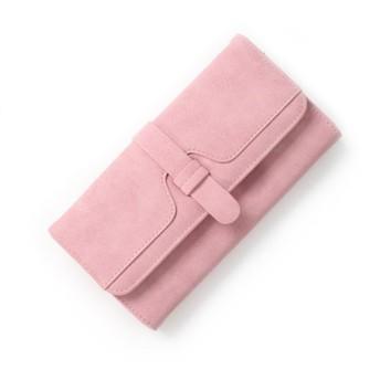 INANA 財布 レディース用 長財布 小銭入れ 札入れ 写真入れ 大容量 多機能 サイフ シンプル 上品 優雅 5色入荷 (ピンク)