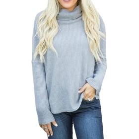 Sodossny-JP 女性カジュアルリラックスフィット高ネックTシャツ固体ニットブラウストップ Grey L