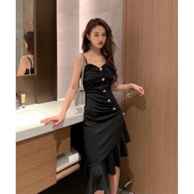 韓国 ファッション レディース ロングワンピース キャミワンピ ドレス ノースリーブ フィッシュテール アシンメトリー ハイウエスト スリ