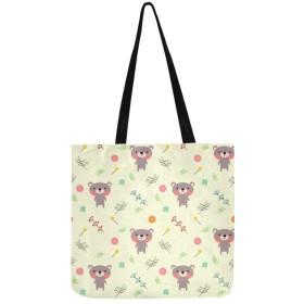 HASHA トートバック かわいいクマや花 キャンバス マザーズバック ショルダーバッグ 大容量 通勤 ショピング
