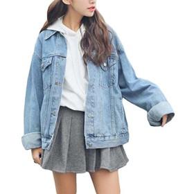 BeiBang(バイバン)レディース デニム ジャケット ゆったり 韓国風 ファッション ジージャン ライトブルー bf風春 アウター(12)