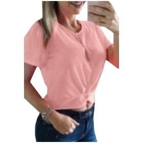 VITryst 女性オープンフロントキャンディカラー半袖夏作物トップTシャツ Pink L