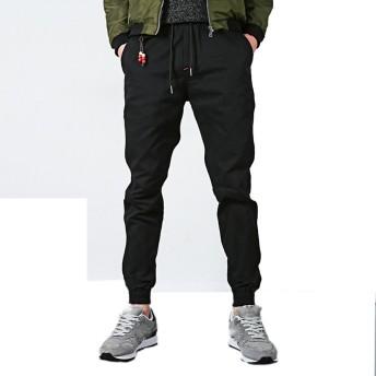 「テンカ」束脚ジョギングパンツ メンズ ズボン カジュアル テーパード クロップドパンツ カジュアルパンツ カーゴパンツ スポーツ デニム ブラック M
