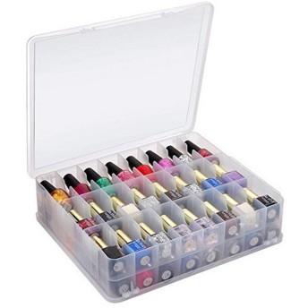 48マニキュア収納ボックス透明プラスチックボックス縫製ボックス口紅収納ボックスポータブル化粧箱ダブル,透明