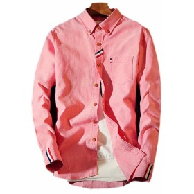 InitialG 長袖シャツ メンズ カジュアルシャツ 白シャツ インナー 大きいサイズ シャツ 細身 L 6L リゾート 015-sjxz228-cs42(5XL ピンク)