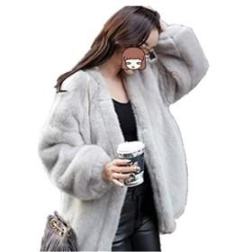 [サ二ー] レディース フード付き コート 秋冬 もこもこ ロング丈 羽織り 大きいサイズ 厚手ジャケット ジャンパー パーカーアウター 人気 ブルゾン フード付き ポケット付き 韓国風 ボア かっこいい グレー M