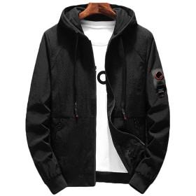 HAPPYJP ウィンドブレーカー メンズ ジャケット スポーツ アウトドア 防風メンズアウター (ブラック, L(日本のM相当))