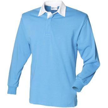 (フロント・ロウ) Front Row メンズ クラシック 長袖ポロシャツ ラガーシャツ トップス カットソー 男性用 (L) (サーフブルー/ホワイト)