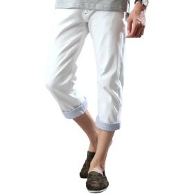 [リピード REPIDO] クロップドパンツ チノパン ベルト付き メンズ ベルト パンツ チノパンツ 七分丈 ホワイト M(表記:79)