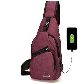 斜めがけバッグ 防水素材USBポート付き(グレー)
