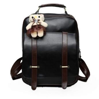 SBOYS(エスボーイズ) リュック レディース メンズ 可愛い 猫 ねこ チャーム付き バックパック レトロ アンティーク PUレザー アクセサリー付き リュックサック 大容量 A4収納 軽量 ディパック ハンドバッグ 学生 鞄 かばん OL 通学 通勤 バッグ (ブラック)
