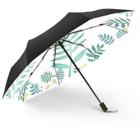 PanPan Amore 葉柄 日傘 折り畳み傘 表地黒い 裏地葉模様プリント 涼しい ひんやり傘 涼感日傘 遮光 遮熱 軽量 晴雨兼用 UVカット 完全遮光 レディース 手開き コンパクト(3段折りたたみ)