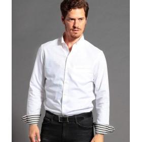 ムッシュニコル ドビー織り長袖スタンドカラーシャツ メンズ 09ホワイト 46(M) 【MONSIEUR NICOLE】
