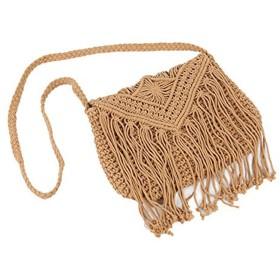 マクラメ編込み 編込みバッグ ショルダーバッグ フリンジショルダー 斜め掛け 肩掛け編み 鞄 海 ビーチ (ベージュ)