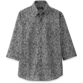 [ポールミラー] 日本製高島ちぢみペイズリー7分袖シャツ (Lサイズ, グレー)