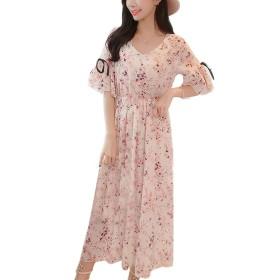 Loverbeauty レディース ドレス ワンピース 花柄 マキシ 大きいサイズ  ロング シフォン 半袖 ワンピース 夏