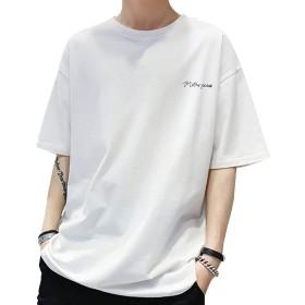 Tシャツ 夏服 半袖 メンズ ゆったりシャツ 綿100% インナーシャツ 快適な 吸汗速乾 薄手 伸縮性 涼しい カジュアル メンズ … (白, L)