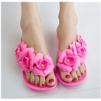 Smile 【ビーチサンダル】レディース ぺたんこローヒール 歩きやすいかわいいフラワーサンダル お花がカワイイ 海やプールでも 大きいサイズ 靴 (39(24CM), ローズレッド)