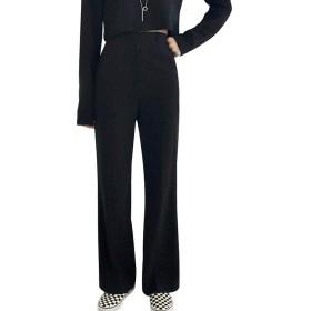 (ワンース) Wansi ストレートパンツ レディース スーツパンツ ハイウェスト ロングパンツ ゆる 無地 スラックス オフィス ブラック XL