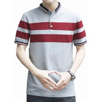UNINEST メンズ ポロシャツ Tシャツ カットソー 半袖 ボーダー polo ゴルフ ビジネス スポーツ 紳士 カジュアル (3XL-日本サイズ3L, グレー)