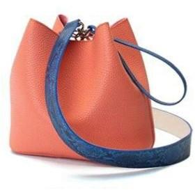 カラフル5色柔らか素材の巾着型2Wayショルダーバッグ (オレンジ)
